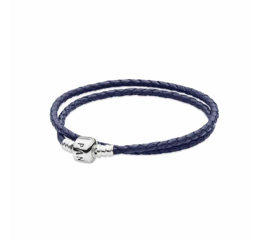 Silver leather double bracelet Blue 590705CDB