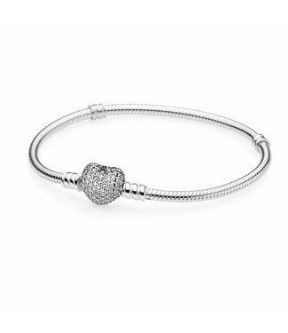 Pandora Silver bracelet with heart-shaped clasp 590727CZ