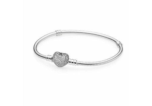 Pandora Silver bracelet with heart-shaped clasp 590727CZ