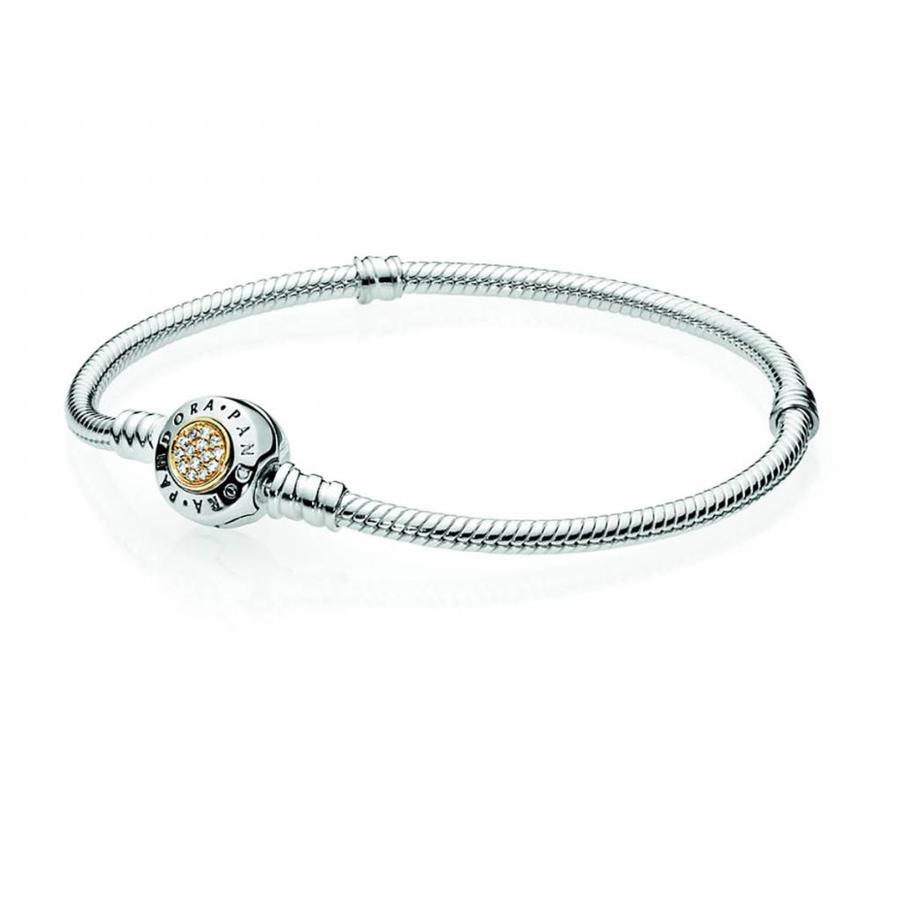 Logo silver bracelet with 14kt 590741CZ