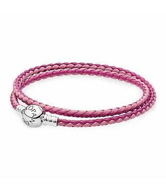 Pandora Moments double woven leather bracelet, pink mix 590747CPMX-D2