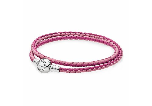 Pandora Moments double woven leather bracelet, pink mix 590747CPMX-D2