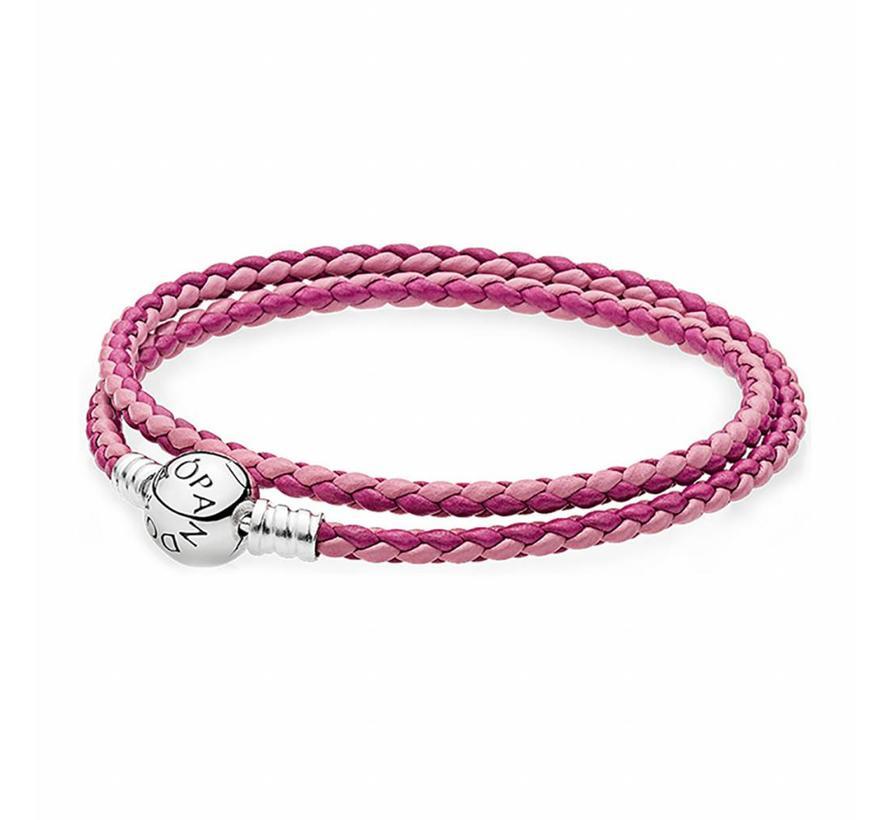 Moments double woven leather bracelet, pink mix 590747CPMX-D2