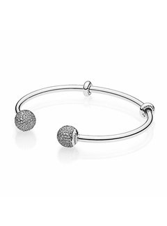 Pandora Silver Bangle with Silicone Stoppers 596438CZ