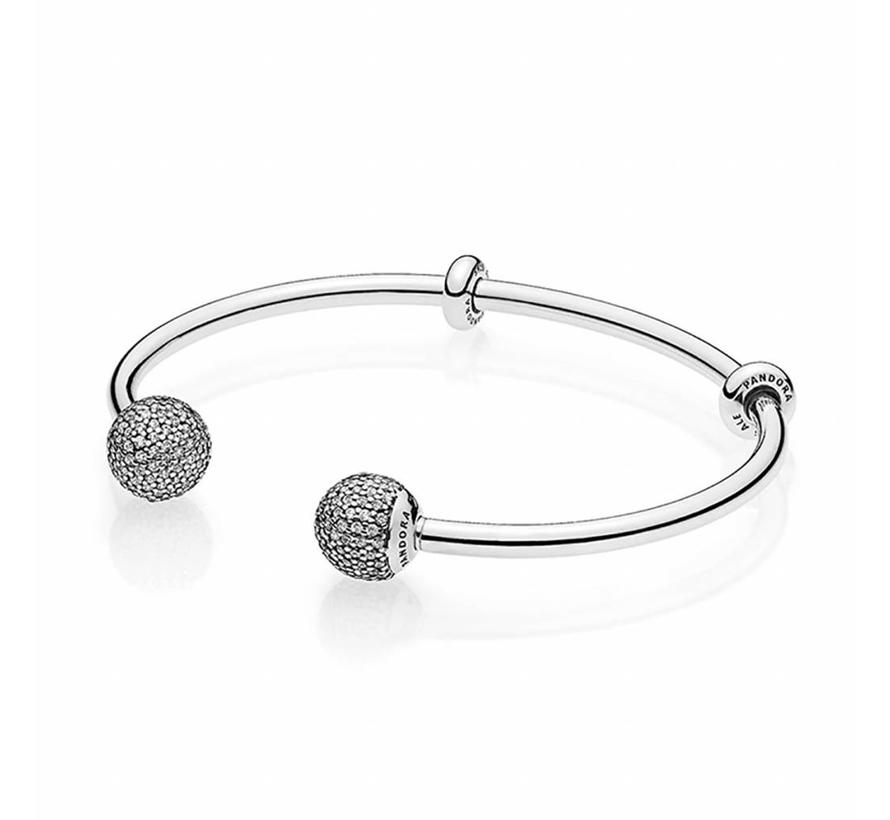 Silver Bangle with Silicone Stoppers 596438CZ