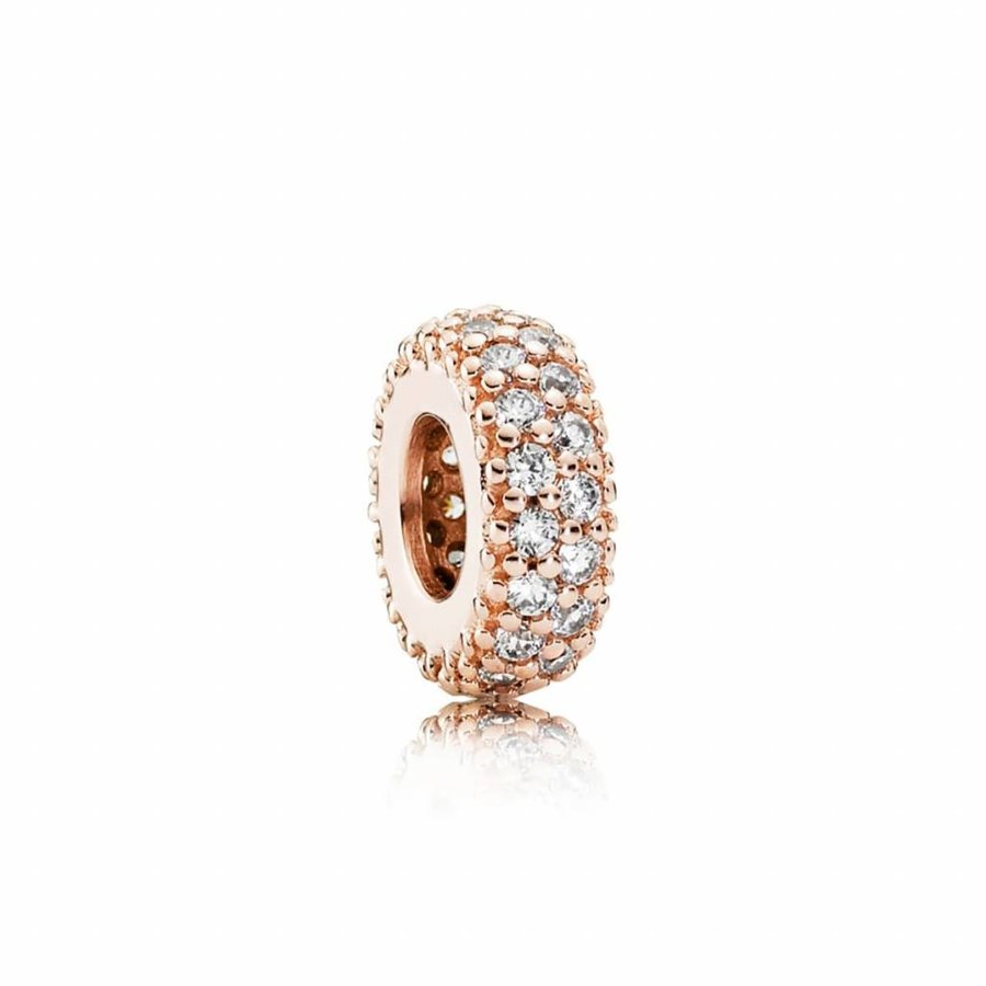 Abstract Rose pave spacer with clear cubic zirconia 781359CZ