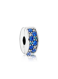 Pandora Silver clip with fancy blue stones 791817NSBMX
