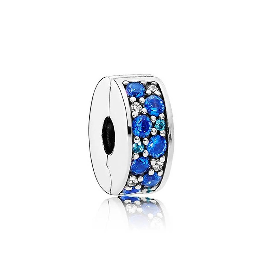 Silver clip with fancy blue stones 791817NSBMX