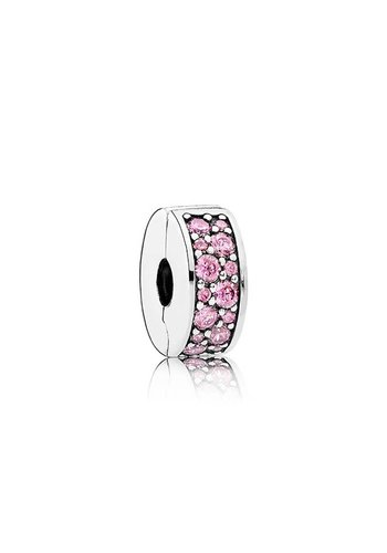 Pandora Silver clip with pink cubic zirconia and silicone grip 791817PCZ