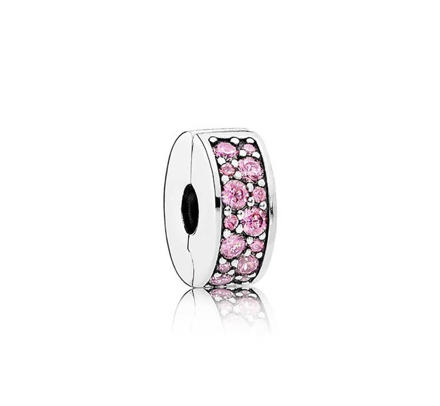 Silver clip with pink cubic zirconia and silicone grip 791817PCZ
