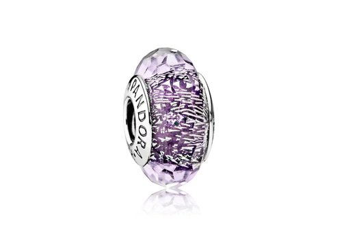 Pandora Abstract with faceted iridescent dark purple Murano glass 791663