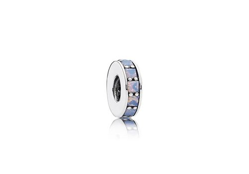 Pandora Abstract spacer with opalescent white crystal 791724NOW