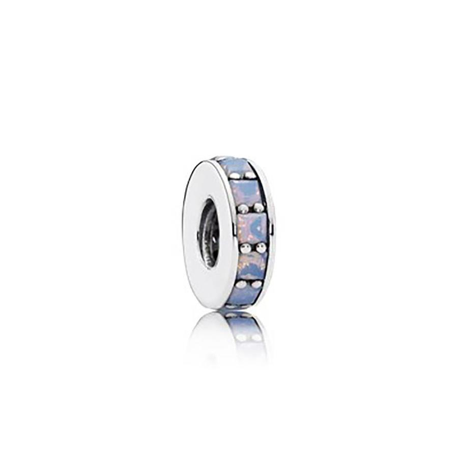 Abstract spacer with opalescent white crystal 791724NOW