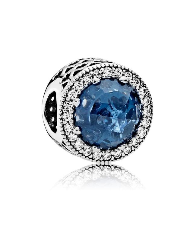Pandora Abstract with moonlight blue crystal and clear cubic zirconia 791725NMB