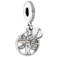 Family tree silver dangle with 14k and clear cubic zirconia 791728CZ