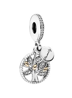 Pandora Family tree silver dangle with 14k and clear cubic zirconia 791728CZ