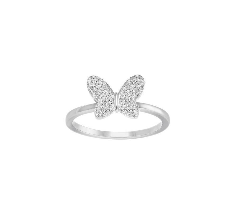 Field ring butterfly silver