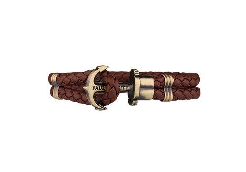 Paul Hewitt Leather Bracelet Gold Brown PH-PH-L-M-BR