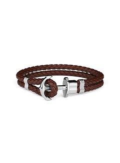 Paul Hewitt Leather Bracelet Silver Brown PH-PH-L-S-BR