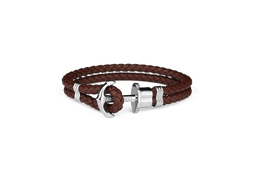 Paul Hewitt Leather Bracelet Silver Brown PH-PH-L-S-BR