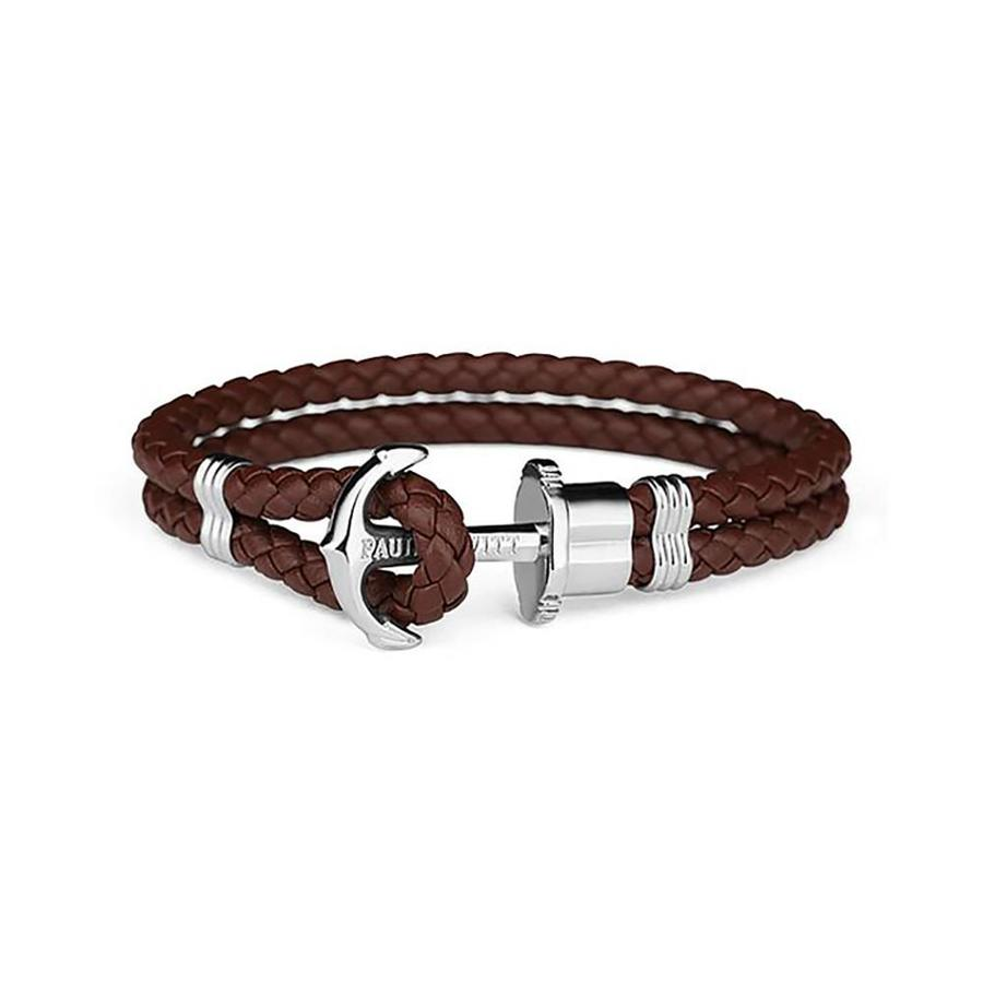 Leather Bracelet Silver Brown PH-PH-L-S-BR