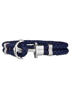 Paul Hewitt Leather Bracelet Silver Navy Blue PH-PH-L-S-N
