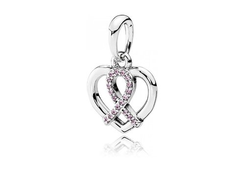 Pandora BCA ribbon and heart silver pendant with pink cubic zirconia 390390PCZ