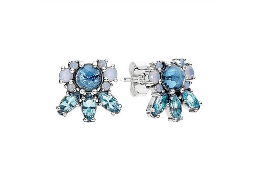 Pandora Silver stud earrings with moonlight blue crystal, sky blue crystal and opalescent white crystal 290731NMBMX