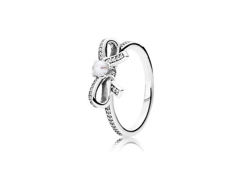 Pandora Bow ring with freshwater cultured pearl 190971P Size 56
