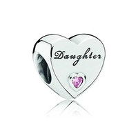 Daughter heart with pink cubic zirconia 791726PCZ
