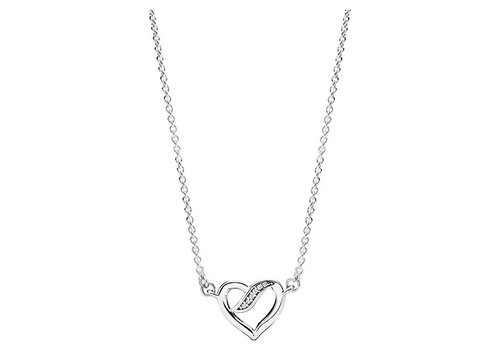 Pandora Ribbon heart silver necklace with clear cubic zirconia 590535CZ