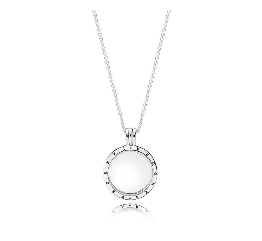Medium floating locket silver pendant and necklace 590529