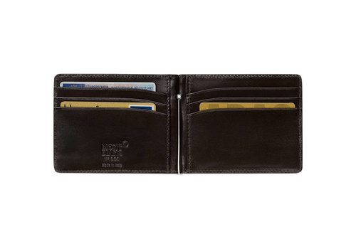 Montblanc Leather Meiserstuck Wallet Money Clip Mocha 112561