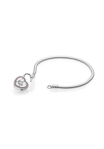 Pandora Smooth Silver bracelet, Lock Your Promise 596586FPC