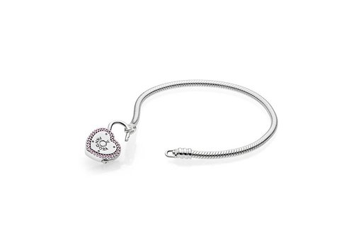 Pandora Smooth Silver bracelet, Lock Your Promise 596586FPC