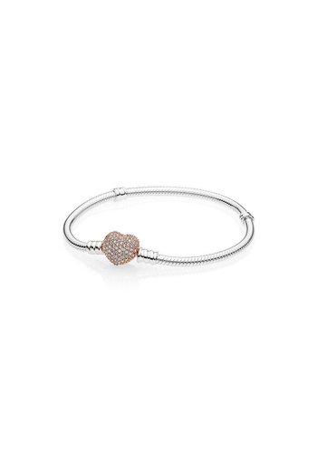Pandora Snake chain silver bracelet with rosegold clasp 596292CZ