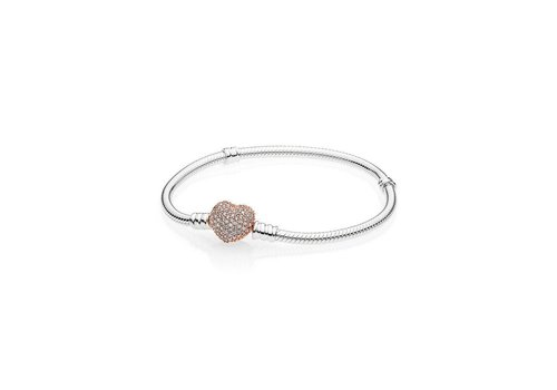 Pandora Snake chain silver bracelet with rosegold clasp 596292CZ