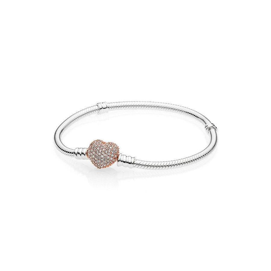 Snake chain silver bracelet with rosegold clasp 596292CZ