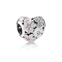 Floral silver charm with clear cubic zirconia, white and pink enamel 791825ENMX