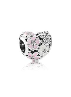 Pandora Floral silver charm with clear cubic zirconia, white and pink enamel 791825ENMX
