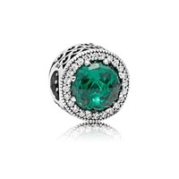 Abstract charm with silver with sea green crystals and clear cubic zirconia