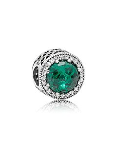 Pandora Abstract charm with silver with sea green crystals and clear cubic zirconia