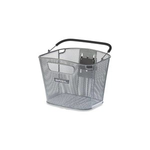 Basil Bold Front Removable - bicycle basket-16L - front - silver