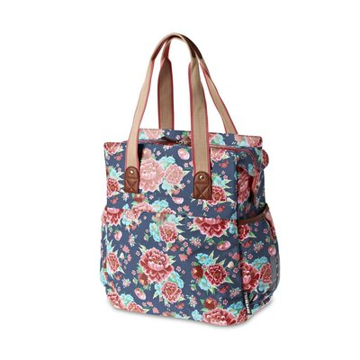 Basil Basil Bloom - shopper - bicycle shopper - 20L - Indigo blue with flowers
