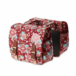Basil Bloom Double Bag - Double Cycle Bag - 35L - Red with flowers