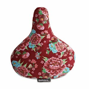 Basil Basil Bloom Saddle Cover - red with flowers