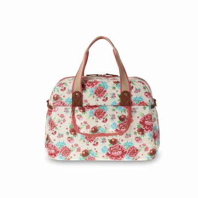Basil Bloom Carry All Bag - Bike bag - 18L - White with flowers