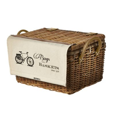 Basil Portland Basket Classic - carrier with lid - bicycle basket - 43L - brown