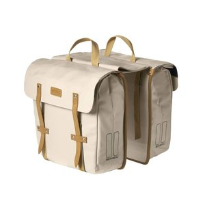 Basil Portland Slimfit Double Bag - double bike bag - bicycle bag - 29L - cream