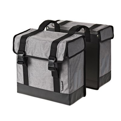 Basil Route Double Bag – double bike bag - grey